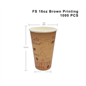 16oz Eco-friendly Brown Printing Round Hot Paper Cup - 1000 Pcs