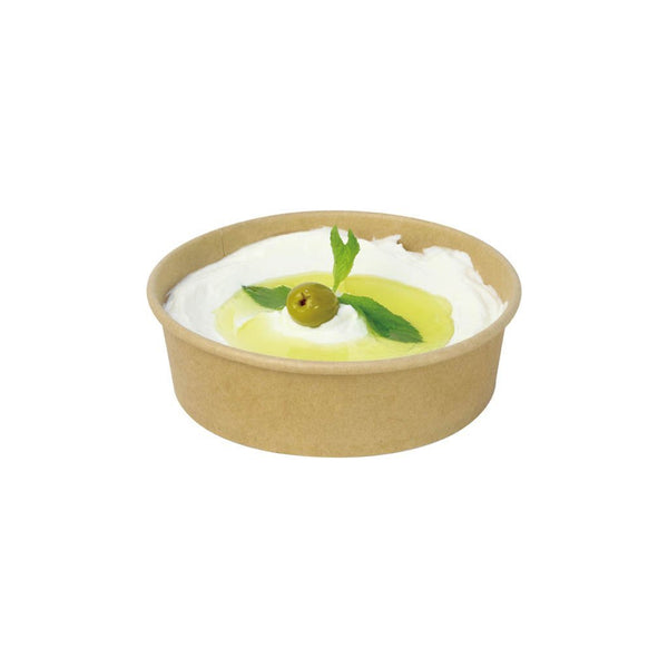 #500B | 18oz Eco-friendly Kraft Round Paper Bowl (Base Only) - 300 Pcs - HD Plastic Product (Canada). Inc
