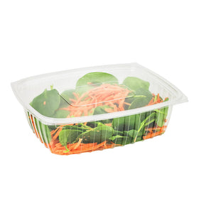 H038 | 32oz Clear Rectangular Salad Container W/ Lid - 300 Sets