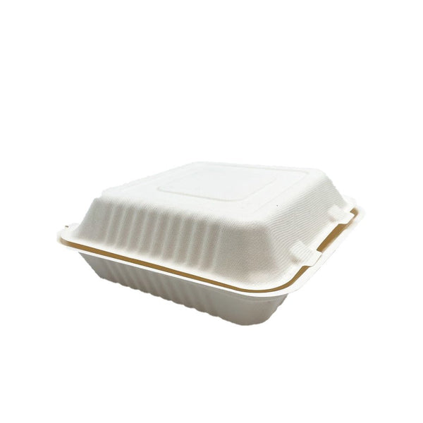 #91 | Eco-friendly Sugarcane Square Clam Shell Food Container | 9x9x3