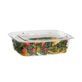 H054 | 48oz Clear Rectangular Salad Container W/ Lid - 250 Sets