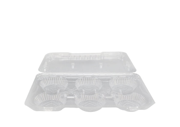F1109 | 6 Egg Tart Clear Rectangular Hinged Container - 200 Pcs - HD Plastic Product (Canada). Inc