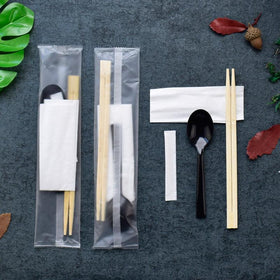 Individually Wrapped Disposable Tableware Set | Bamboo Chopsticks/Soup Spoon/Napkin/Toothpick - 800 Sets
