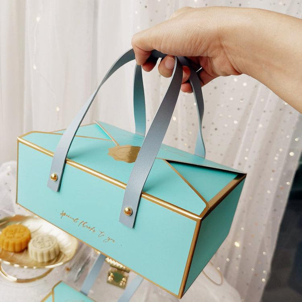 Packaging Paper Box W/ Leather Handle | Fit 4/6 Moon Cakes or Egg Yolk Pastry (No Sticker) - 10 Pcs - HD Plastic Product (Canada). Inc