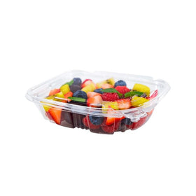 PL08 | 8oz PET Clear Rectangular Hinged Safety Lock Salad Container - 240 Sets