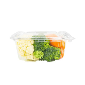 PL16 | 16oz PET Clear Rectangular Hinged Safety Lock Salad Container - 240 Sets