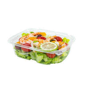 PL24 | 24oz PET Clear Rectangular Hinged Safety Lock Salad Container - 200 Sets