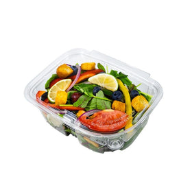 PL32 | 32oz PET Clear Rectangular Hinged Safety Lock Salad Container - 200 Sets