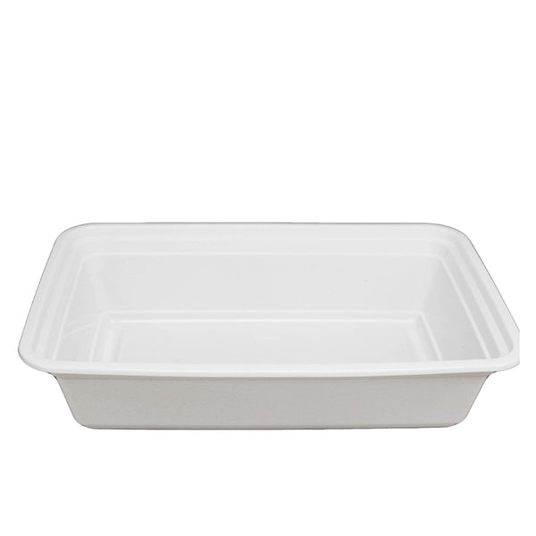 RE-38 | HD 38oz Microwaveable PP White Rectangular Container W/ Lid - 150 Sets - HD Plastic Product (Canada). Inc