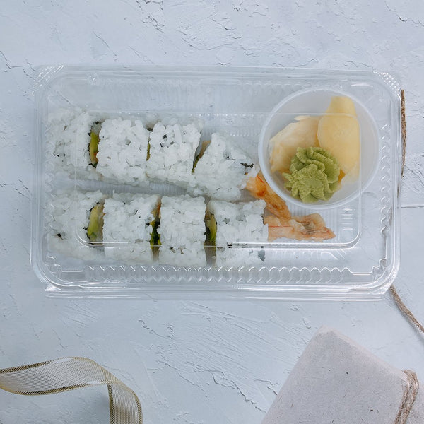 SHT-3 | Clear Rectangular Hinged Sushi Container | 7.68x4.72x1.57