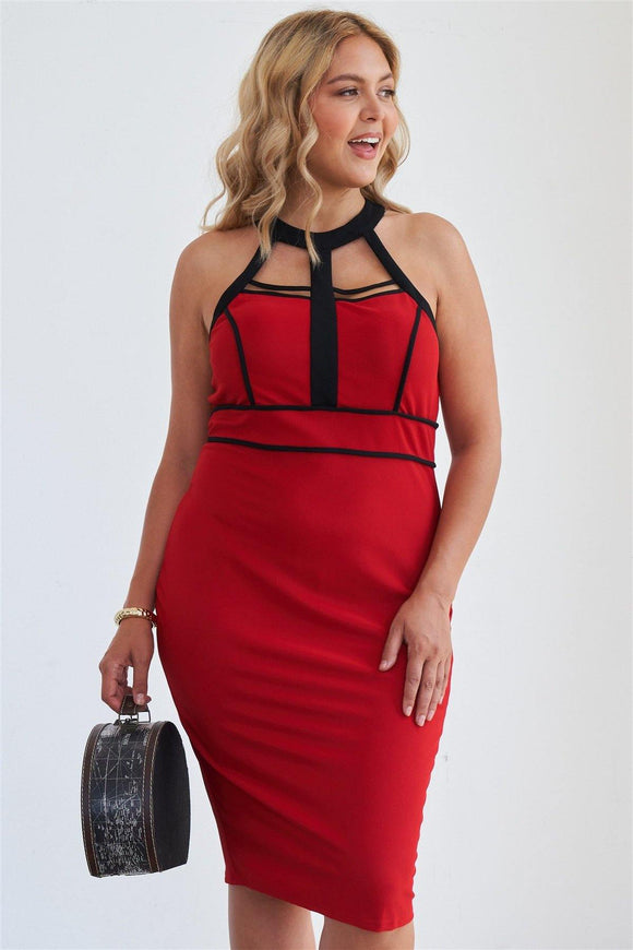 Barbados Cherry Cage Halter Neck Bodycon Midi Dress