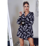 Black Letter Print Fitted Waist Shirt Dress - Alpha Chick Boutique