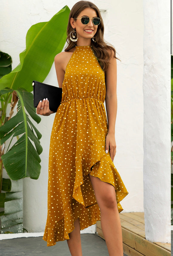 Halter Polka Dot Ruffle Midi Dress freeshipping - Alpha Chick Boutique