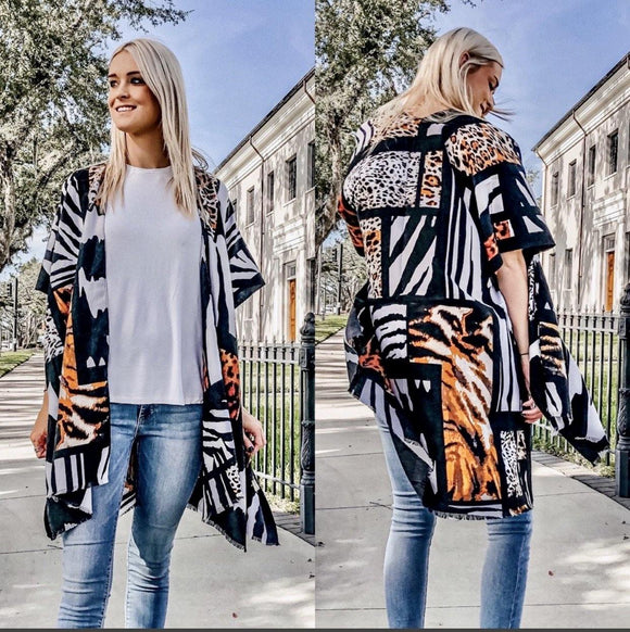 Mixed Animal Print Kimono Ivory - Alpha Chick Boutique