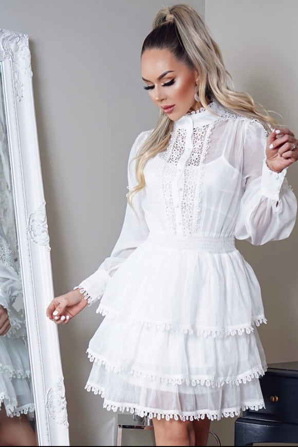 White Lace Skater Shirt Dress freeshipping - Alpha Chick Boutique
