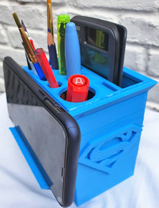 Large Compartmentalised Stationery Holder with a Phone Stand, Slots and Superhero Logos