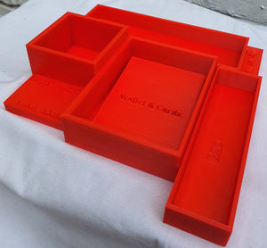 Modern Large Desk Caddy/ Organiser with compartments for Pens, Wallet & Cards, Glasses and Earphones