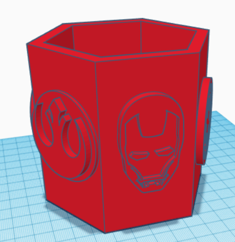 Hexagonal Stationery Holder with Star Wars and Superhero Logos