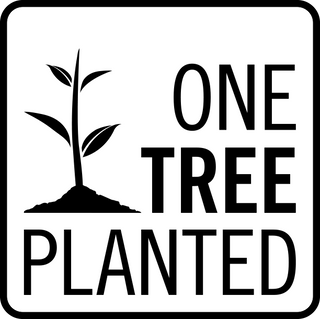 Logo of One Tree Planted. We plant one tree for every sale we make symbolizing our commitment environmentally friendly (eco-friendly) fashion