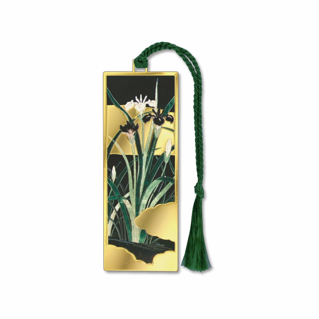 iris-flowers-with-gold-leaf-bookmark-photo