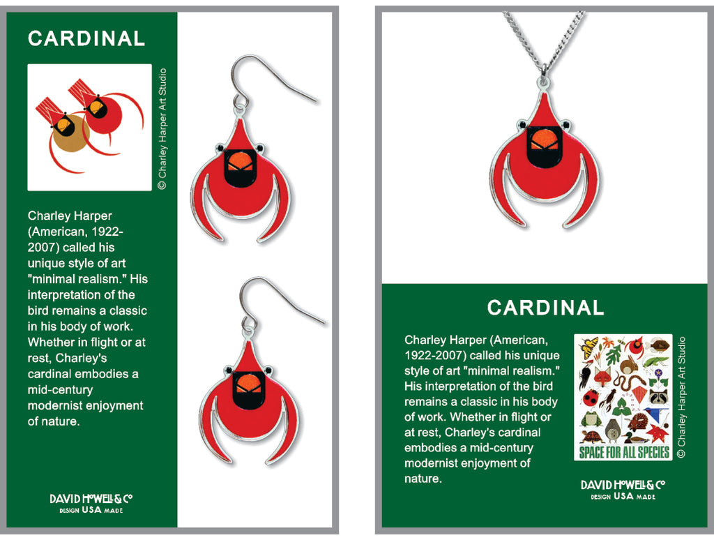Charley Harper Cardinal Earrings and Pendant Set