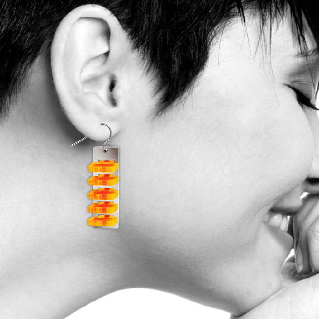 The Space Between Modern Art Earrings, #1 Orange Long