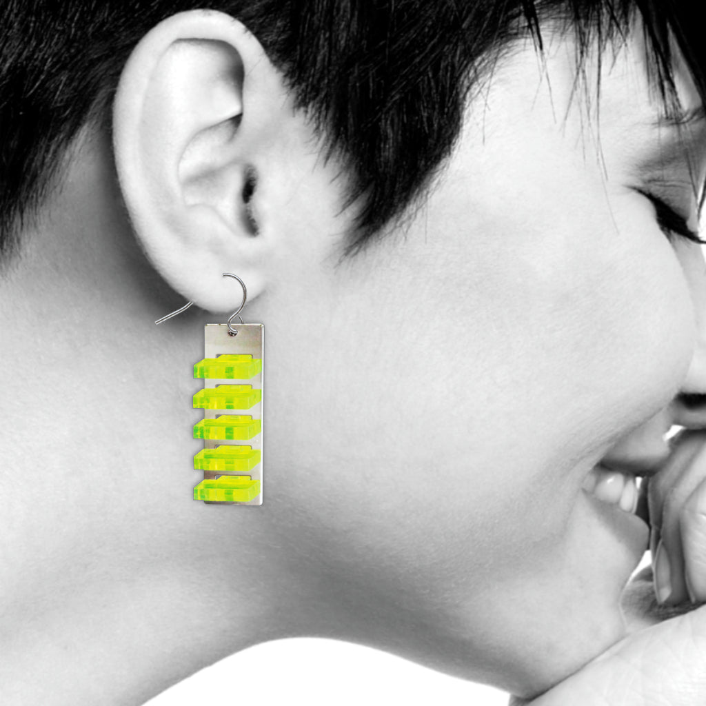 The Space Between Modern Art Earrings, #2 Yellow Long