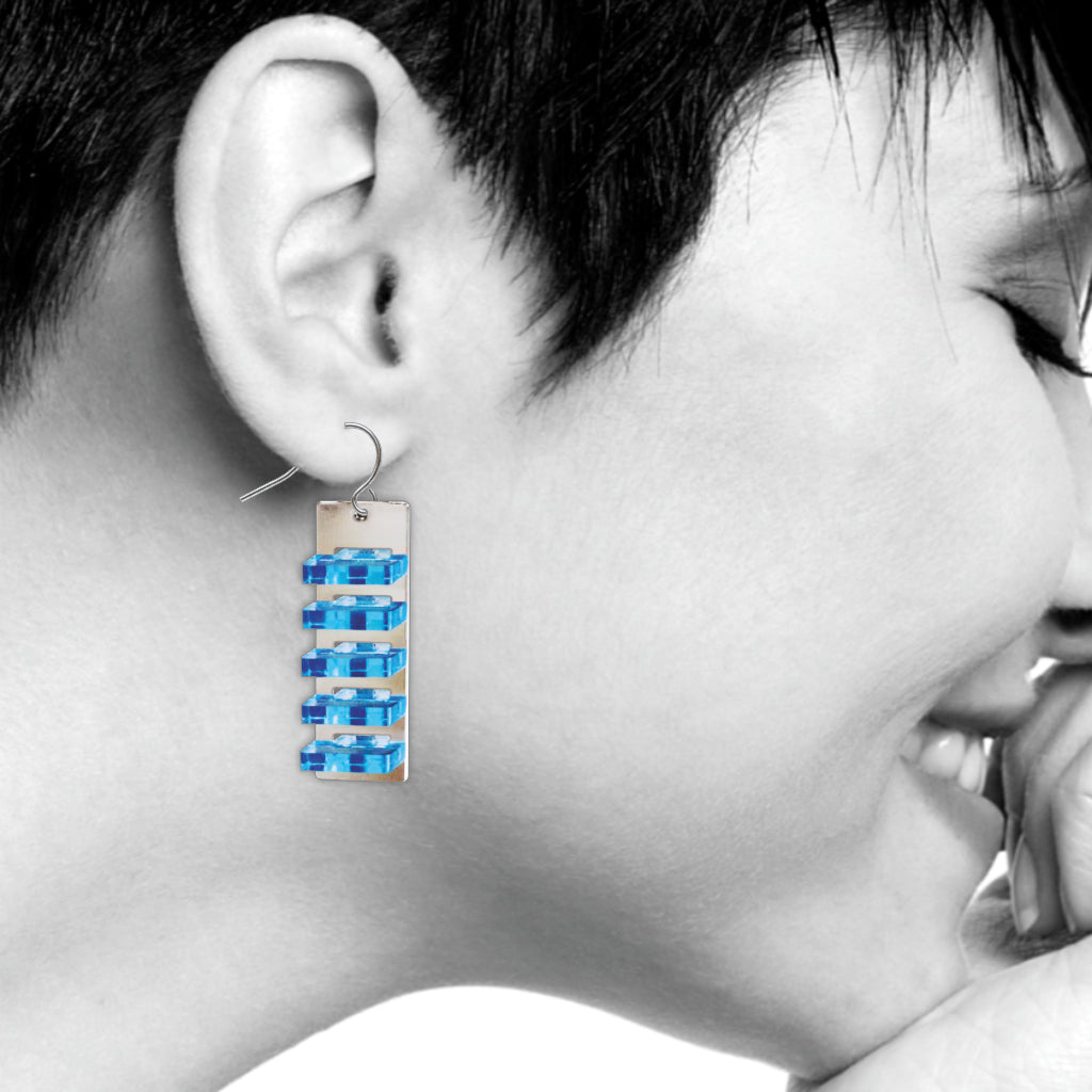 The Space Between Modern Art Earrings, #3 Blue Long