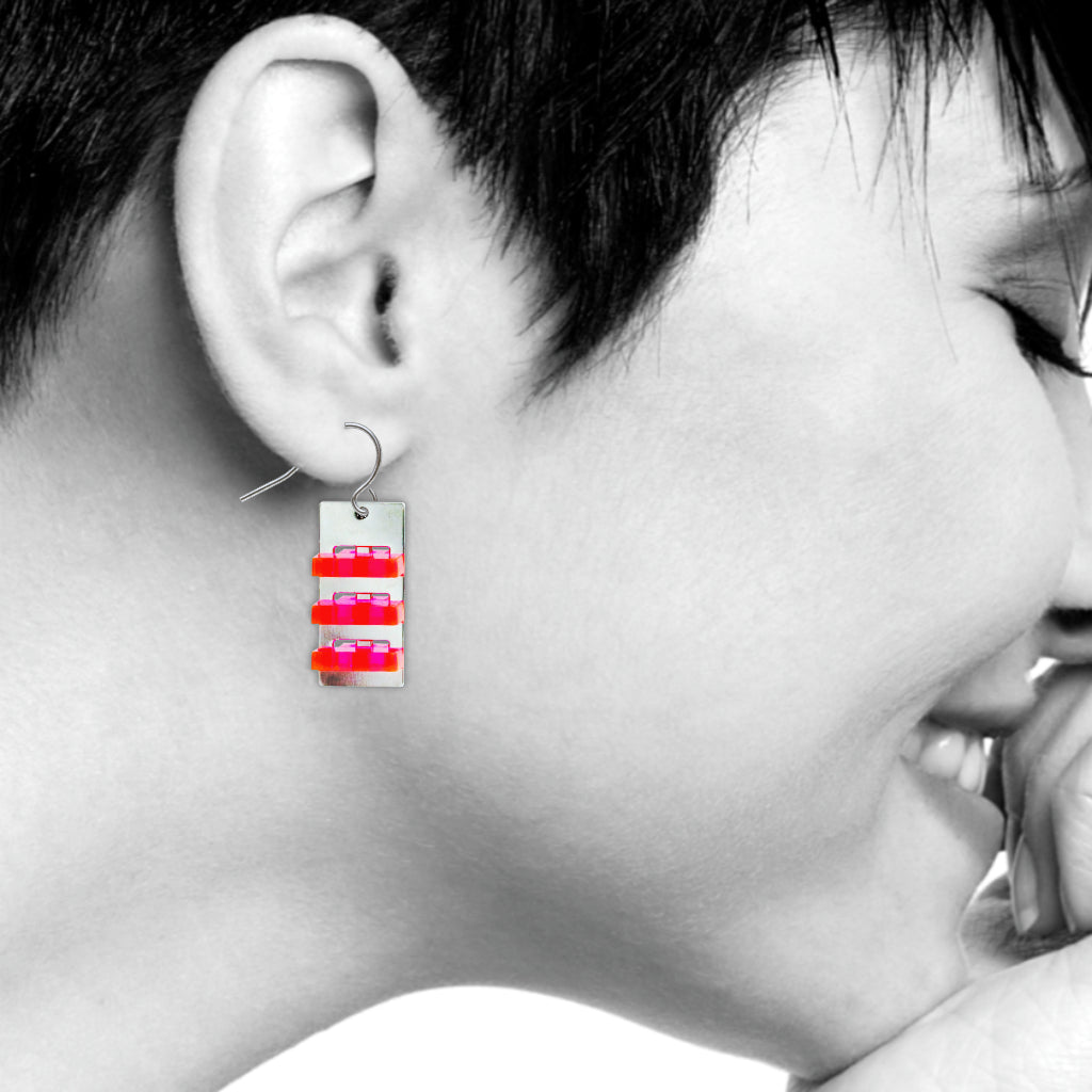 The Space Between Modern Art Earrings, #11 Red