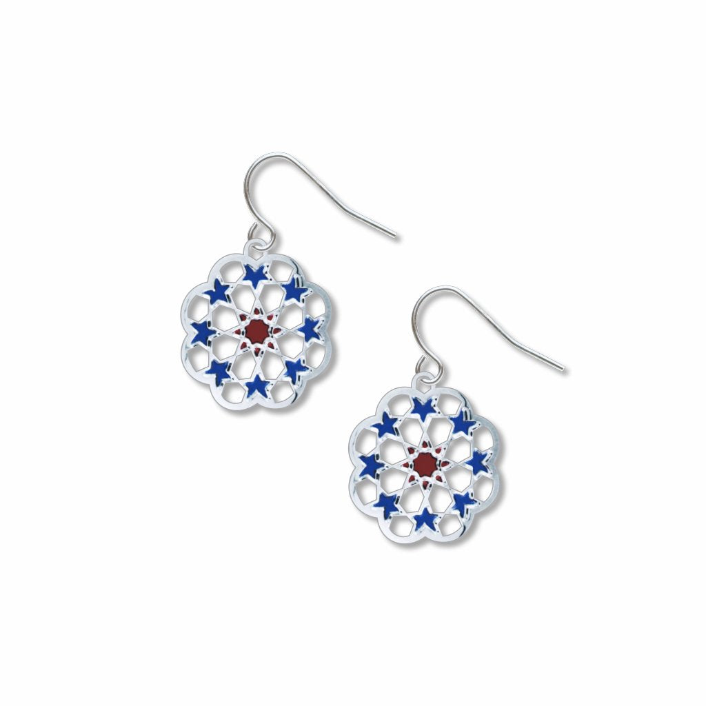 nine-stars-red-&-blue-giclee-print-earrings-photo