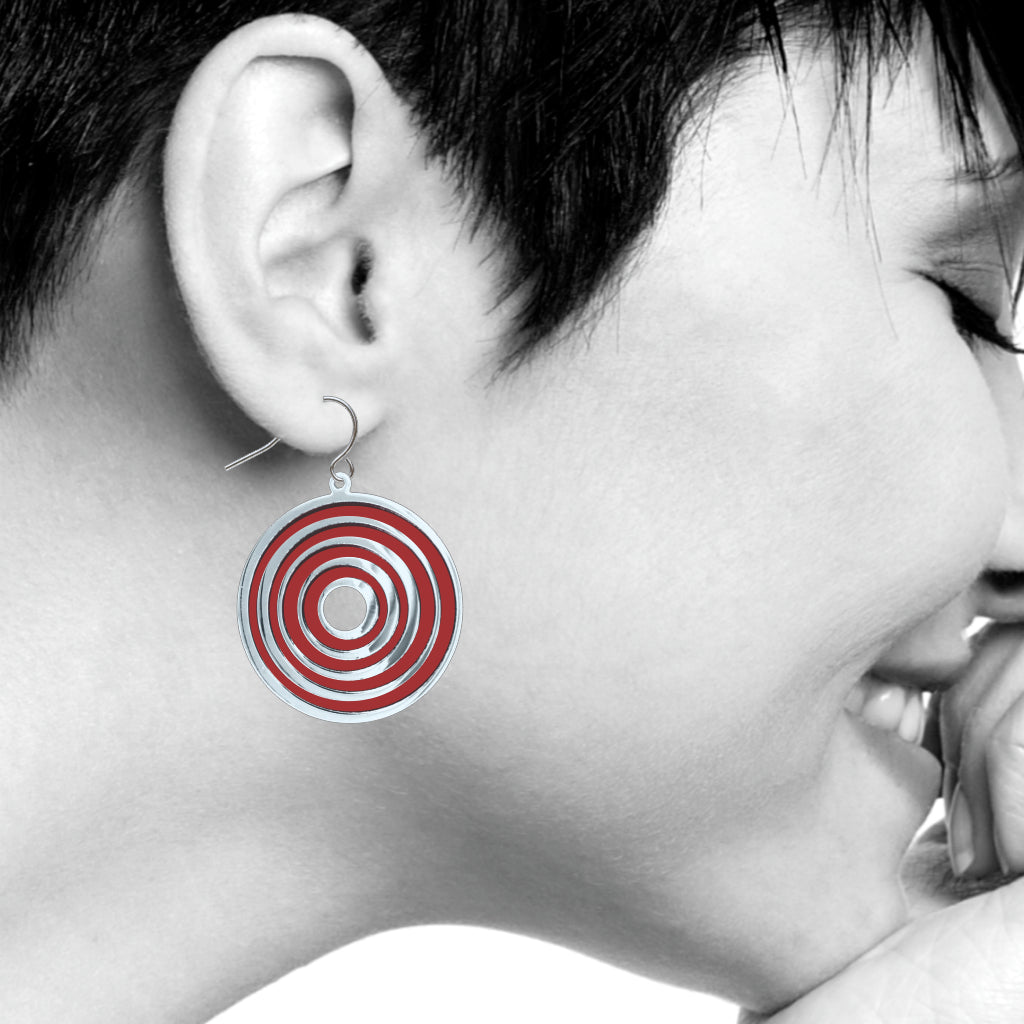 Op Art Target Earrings, Ruby