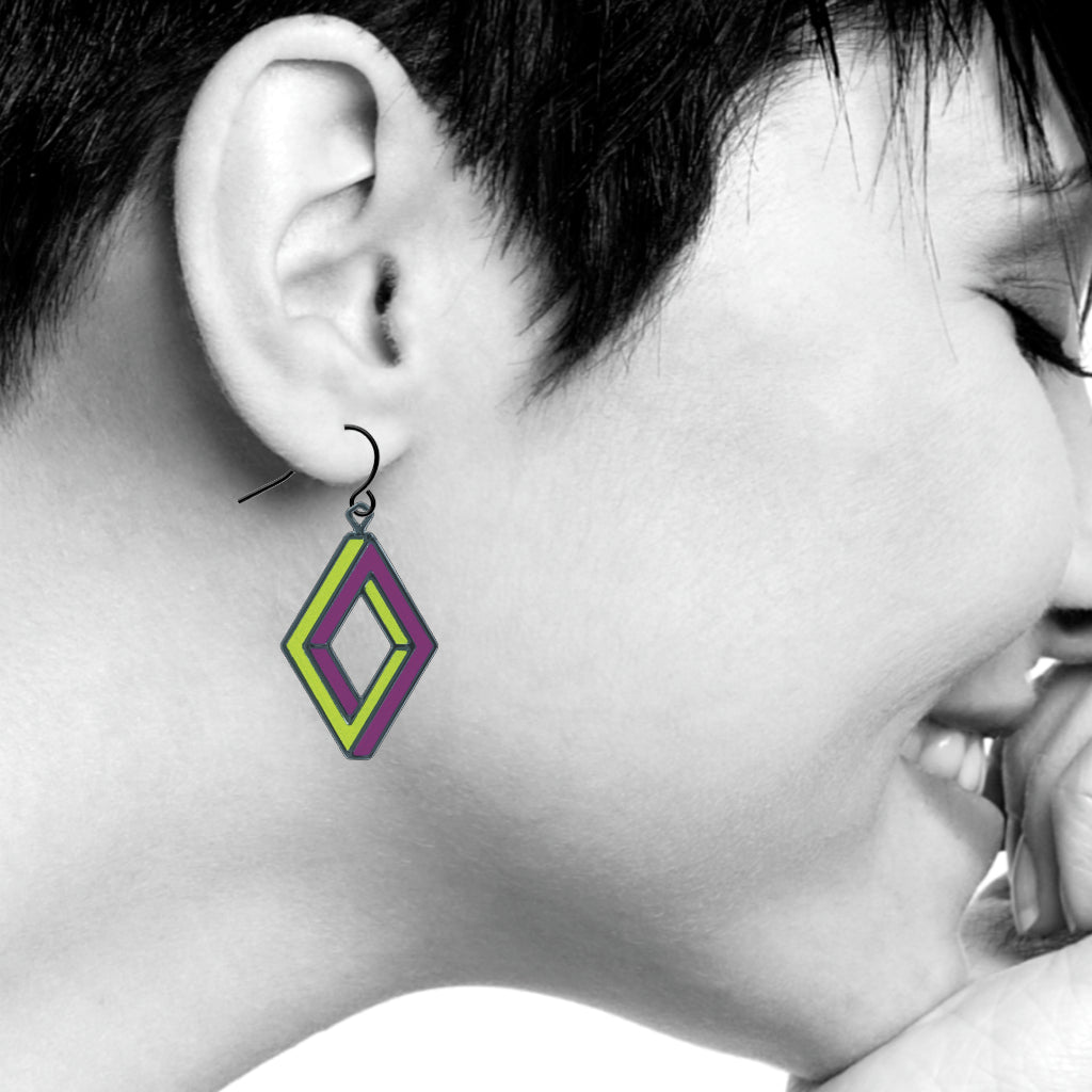 Op Art Penrose Rectangle Earrings, Lime/Purple