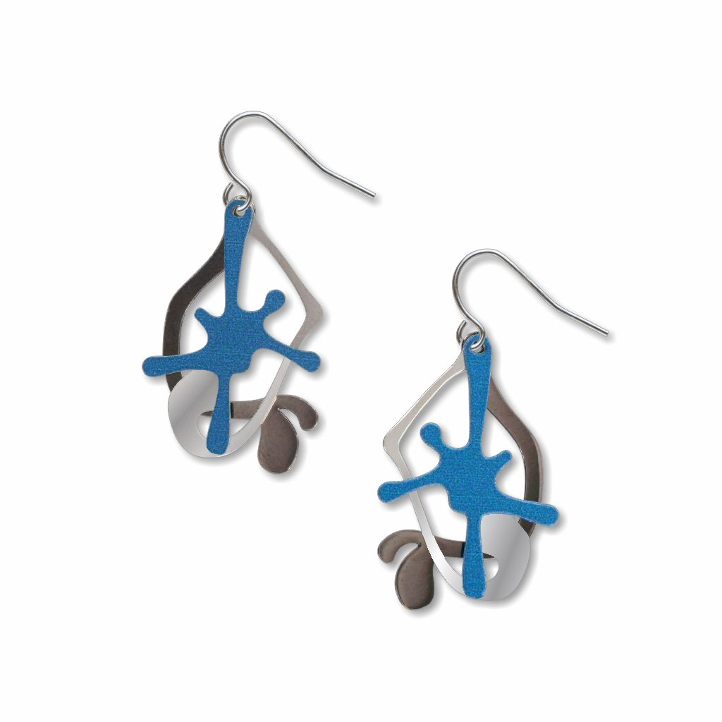splatters-blue,silver-&-black-earrings-photo