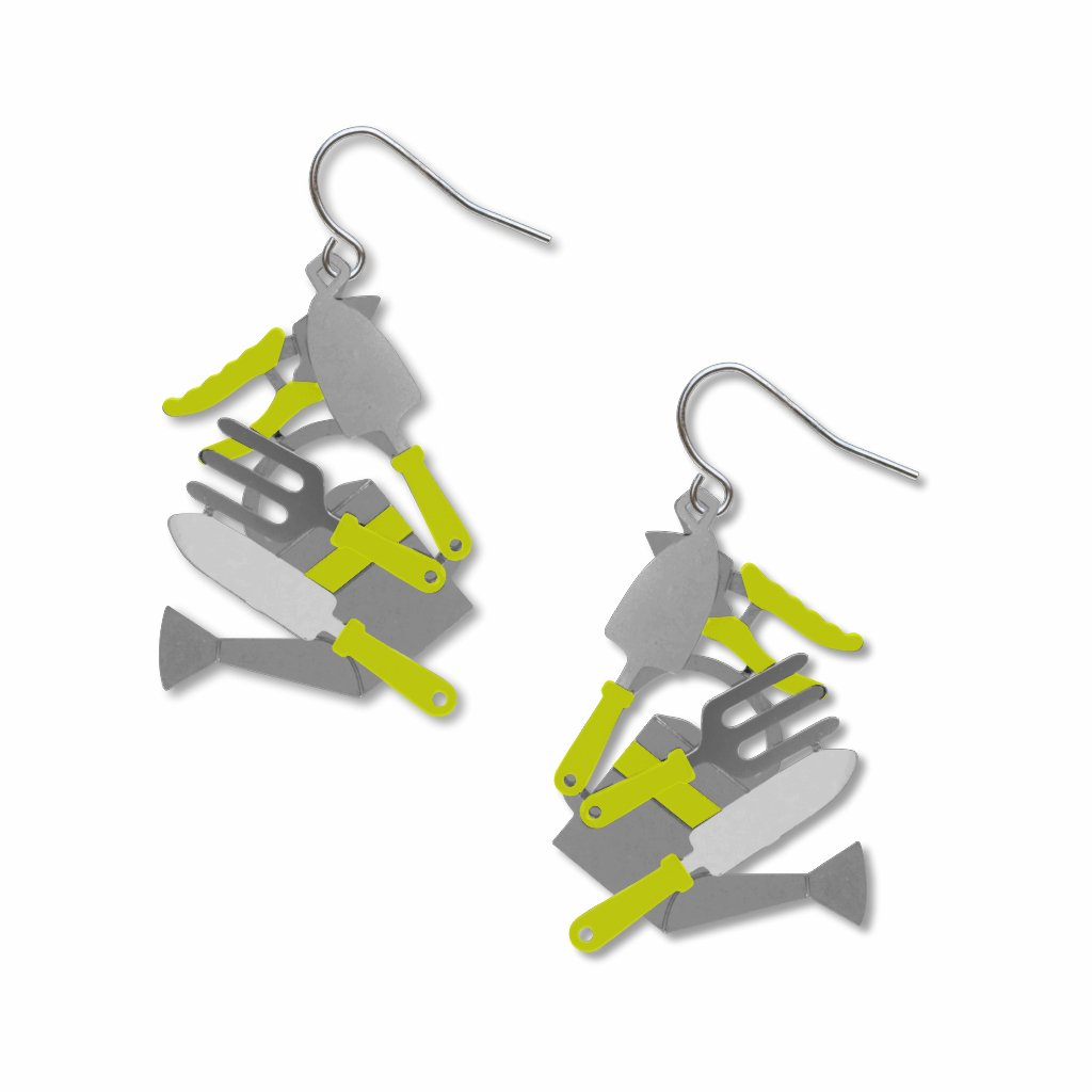 gardening-tools-lime-accents-giclee-print-earrings-photo