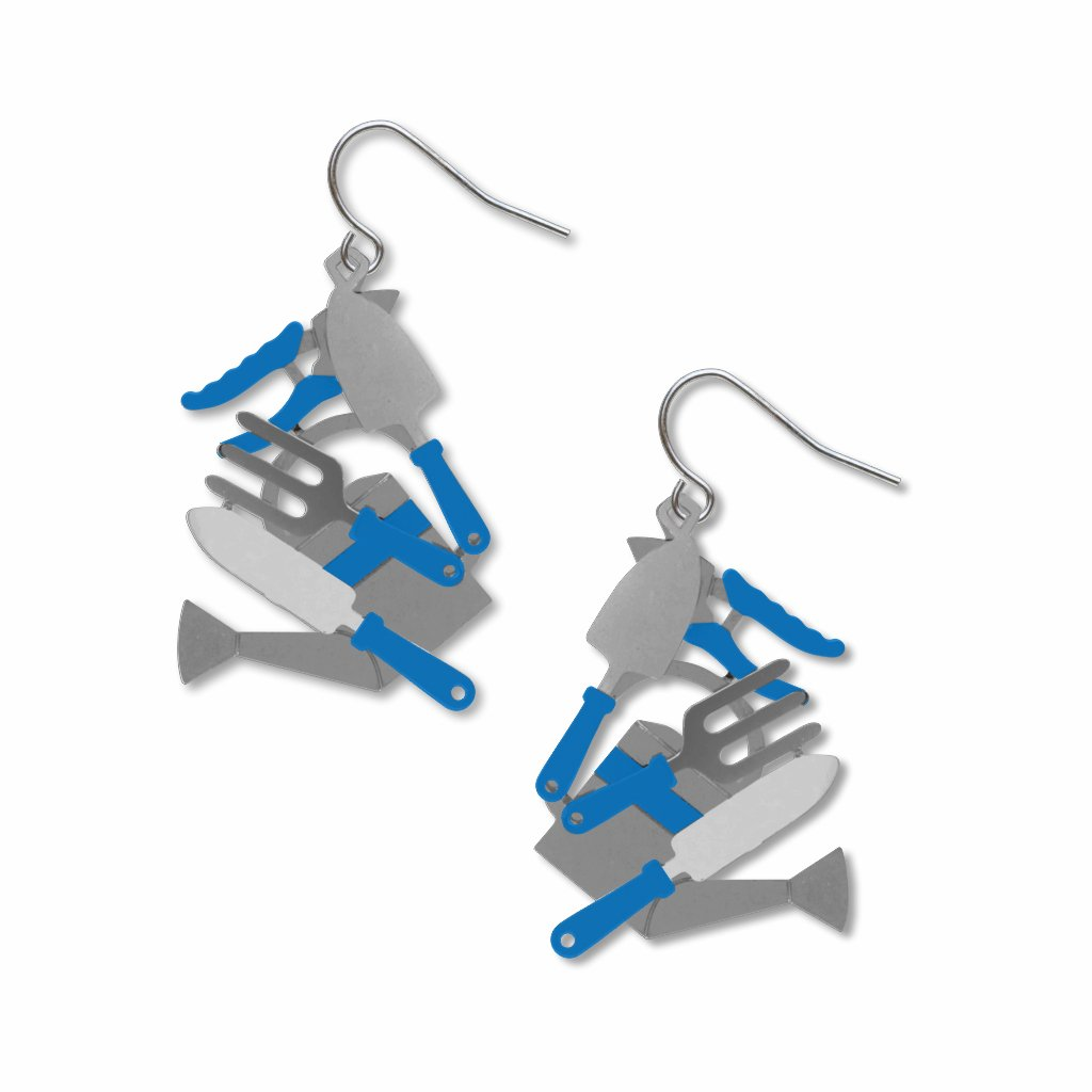 gardening-tool-blue-accents-giclee-print-earrings-photo