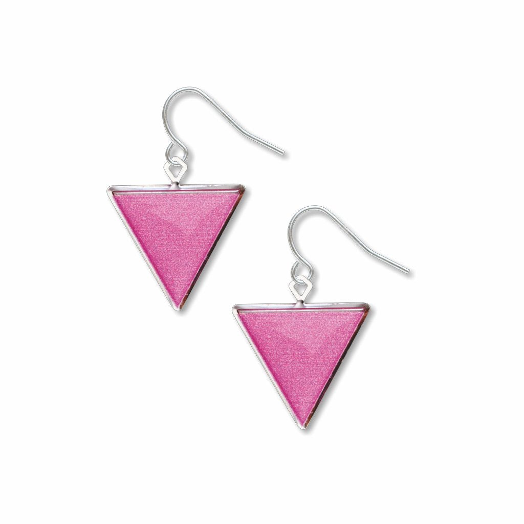 pink-triangle-giclee-print-domed-earrings-photo