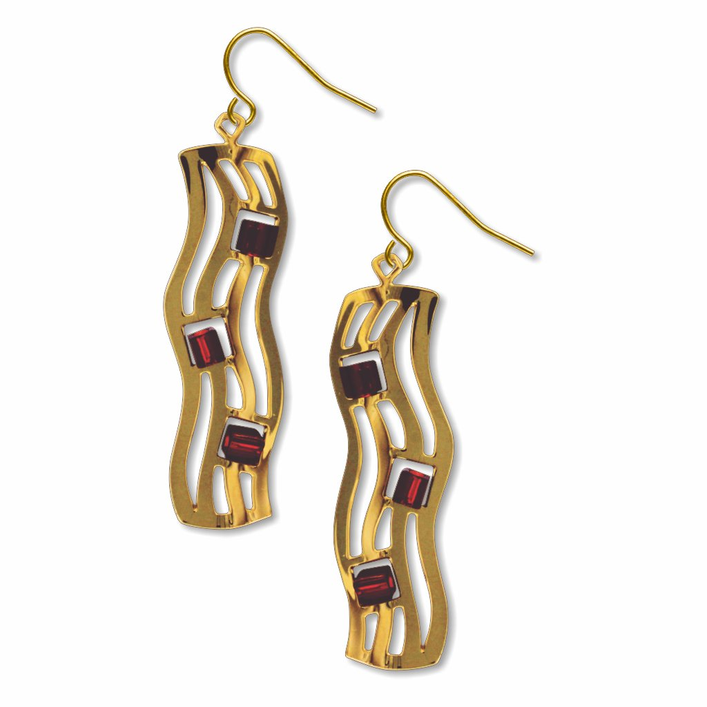 the-kiss-wave-pattern-amber-bead-earrings-photo