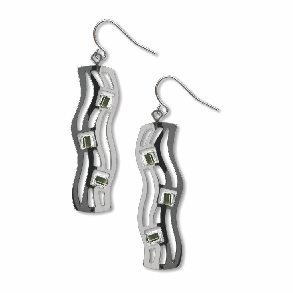 the-kiss-wave-pattern-olive-bead-earrings-photo