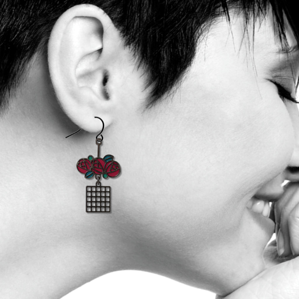Charles Rennie Mackintosh Lattice & Rose Earrings