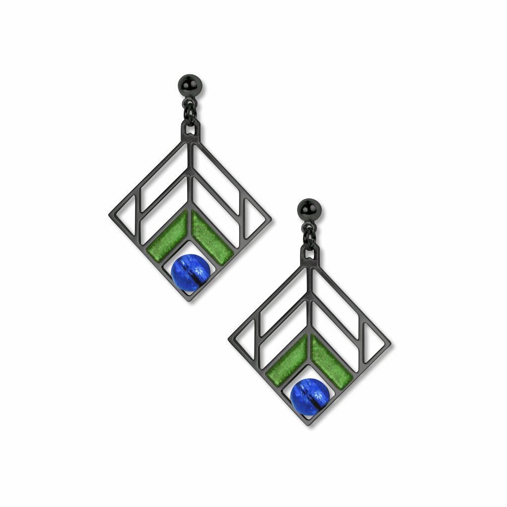 frank-lloyd-wright-chevron-design-blue-bead-green-enamel-earrings-photo