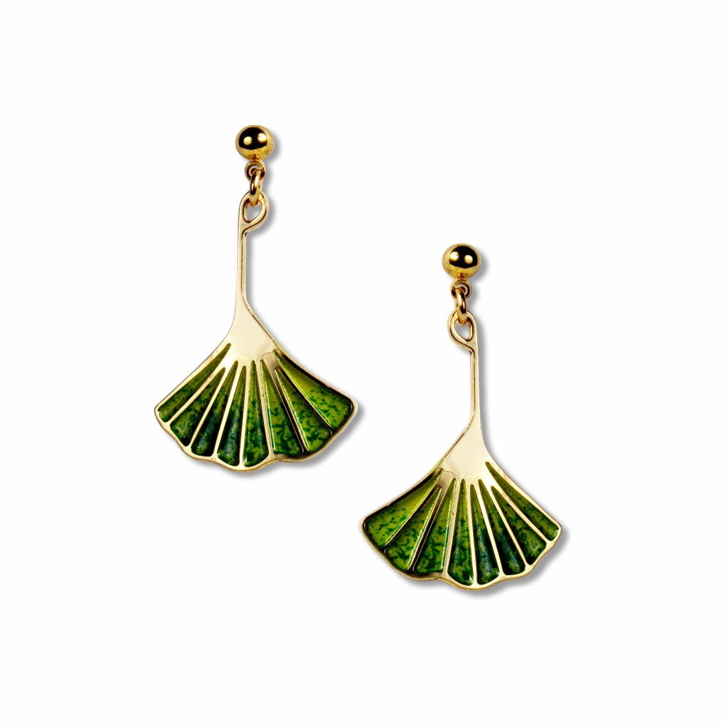 ginkgo-leaf-light-and-dark-green-enamel-earrings-photo
