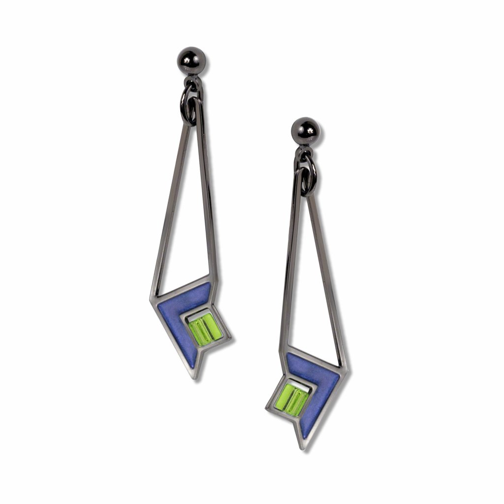 frank-lloyd-wright-art-glass-green-bead-blue-enamel-earrings-photo
