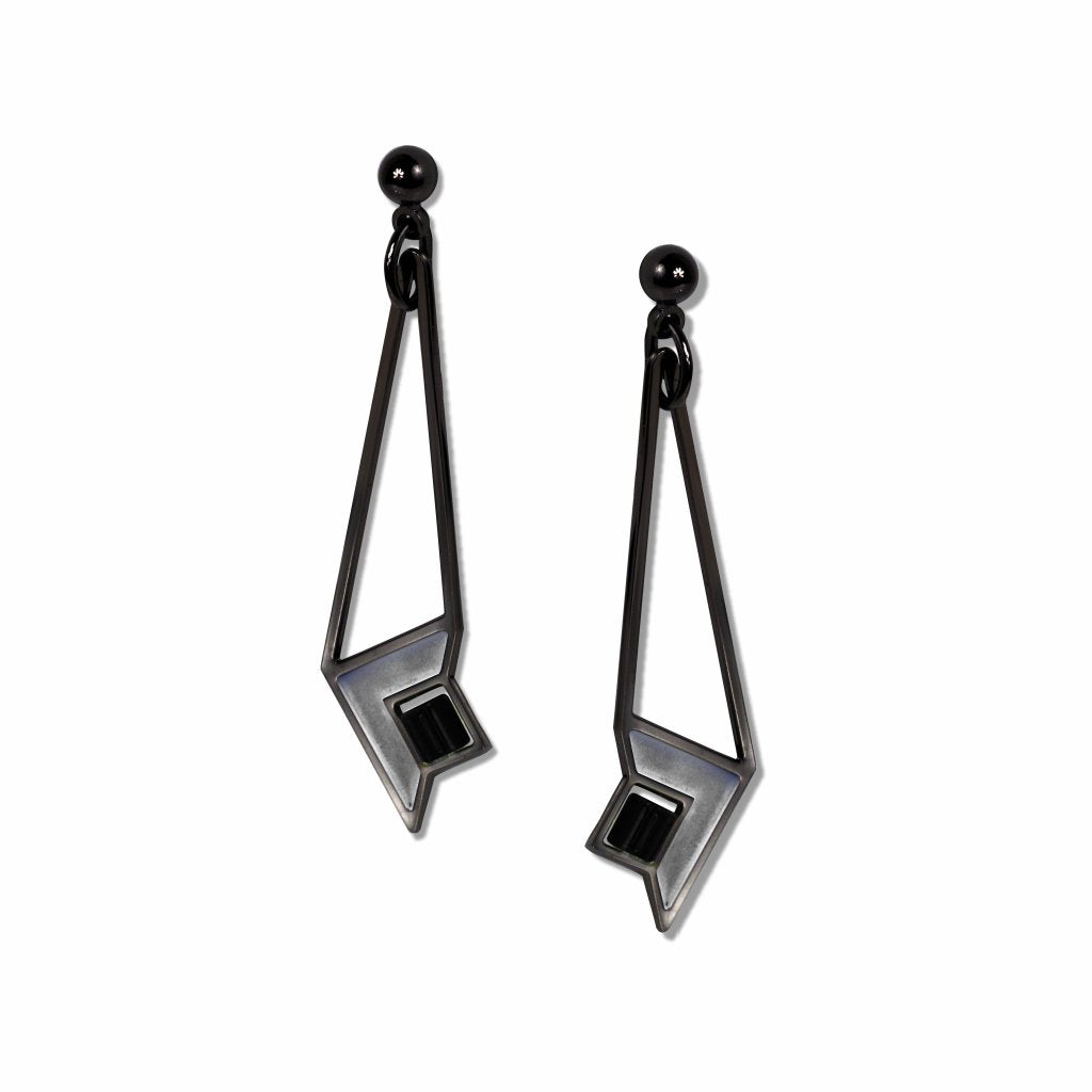 frank-lloyd-wright-art-glass-black-bead-chrome-enamel-earrings-photo