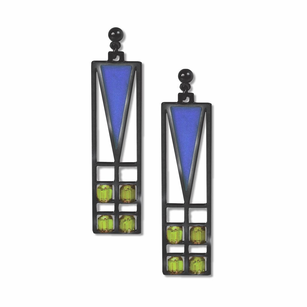 frank-lloyd-wright-light-screen-green-bead-blue-enamel-earrings-photo