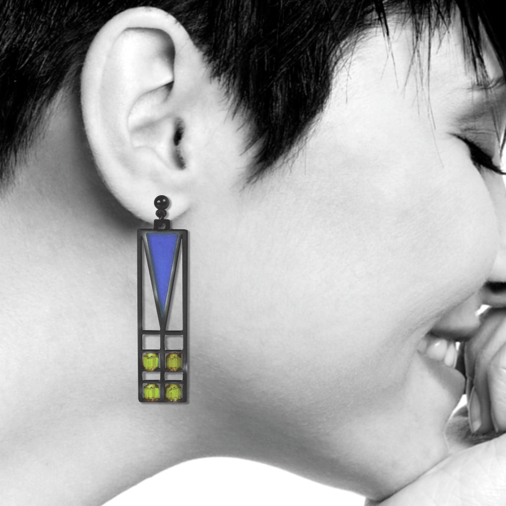 Frank Lloyd Wright Light Screen Stained Glass Earrings, Blue/Green