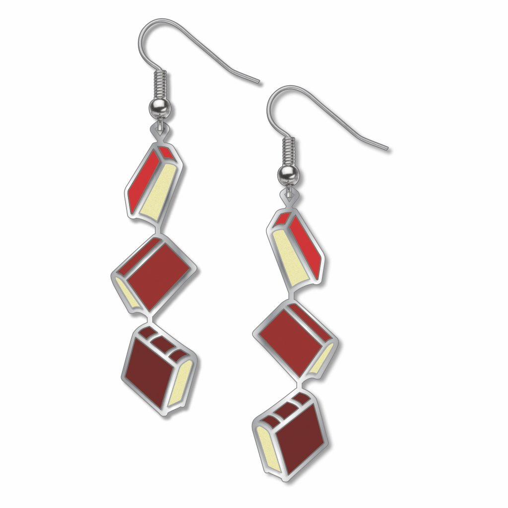 books-red-accents-earrings-photo