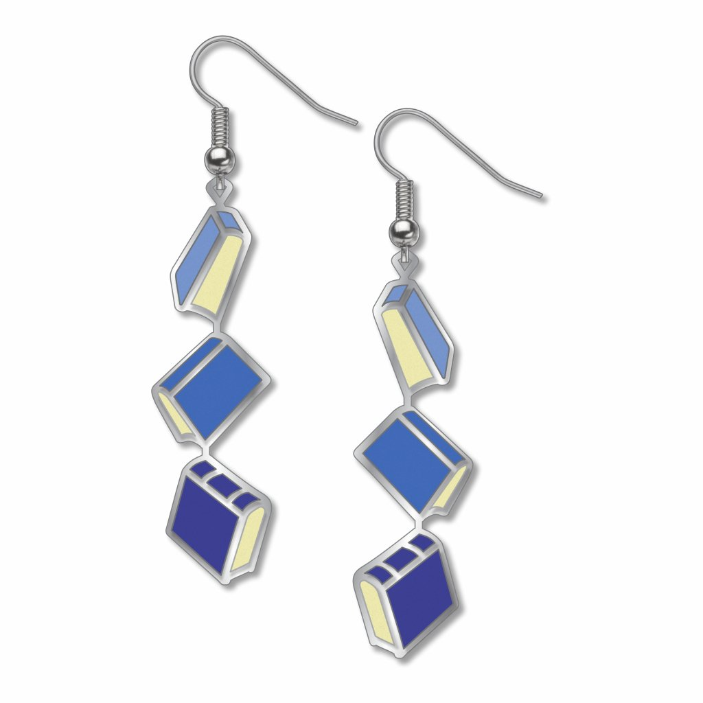 books-blue-accents-earrings-photo