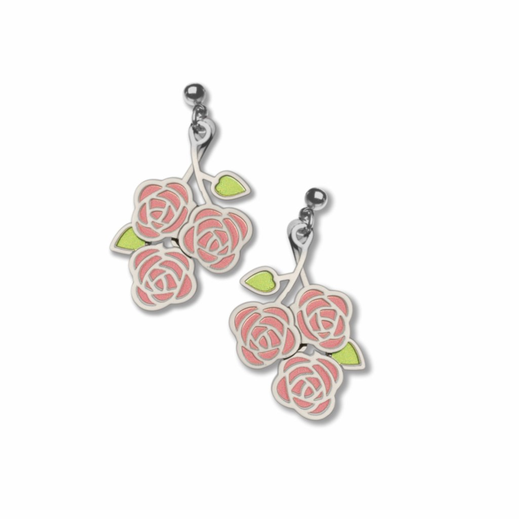 rose-symbolism--pink-accent-green-accent-earrings-photo