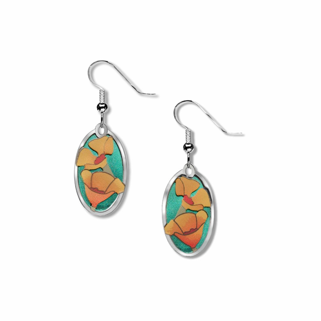 california-poppy-giclee-print-teal-green-accent-earrings-photo