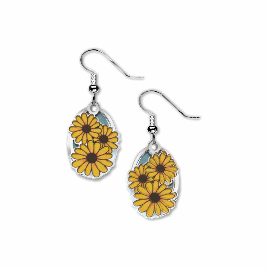black-eyed-susan--giclee-print-light-blue-accent-earrings-photo